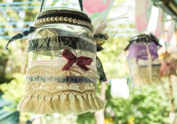 Decorating jar lanterns
