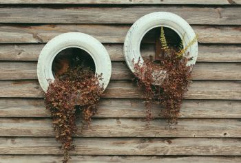 Upcycled tyre hanging flower planter